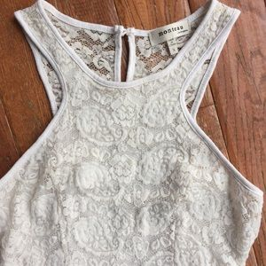 Monteau lace bodycon dress with shear back